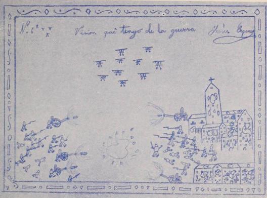 """""""Visión que tengo de la guerra"""". Dibujo nº1, Jesús Esquerro, 10 años."""