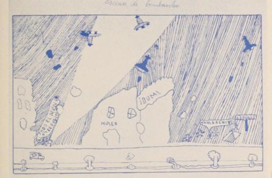"""""""Escena de bombardeo"""". Dibujo nº16, Francisco Torres Marcos, 10 años. Puebla Larga (Valencia)"""