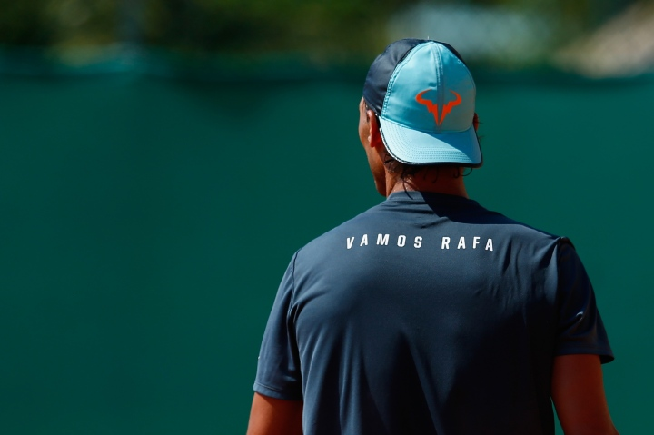 MONTE-CARLO, MONACO - APRIL 13:  Rafael Nadal of Spain looks on in a practice session during day two of the Monte Carlo Rolex Masters tennis at the Monte-Carlo Sporting Club on April 13, 2015 in Monte-Carlo, Monaco.  (Photo by Julian Finney/Getty Images)